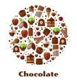 Desserts and delicacies chocolate food round sign vector image vector image