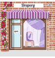 drapery store facade of red bricks vector image vector image