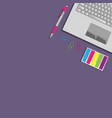 flat lay with laptop vector image vector image