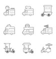 food vehicle icons set outline style vector image vector image