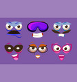 funny emojis with different emotive feelings set vector image vector image