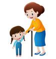 grandmother and little girl holding hands vector image vector image