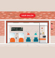 hair salon exterior building and interior beauty vector image vector image