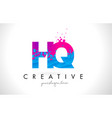 hq h q letter logo with shattered broken blue vector image vector image