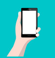 human hand holding cellphone flat design vector image
