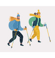 man and woman nordic walking exercising vector image vector image