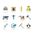 mining and quarrying industry objects and icons vector image vector image