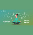 online training podcast radio vector image
