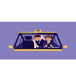 pair of customers kissing at back seat of taxi vector image vector image