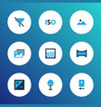 photo icons colored set with exposure gradient vector image