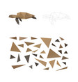 puzzle from triangles collect a turtle vector image