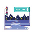 road with welcome label vector image vector image