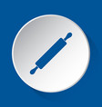 rolling pin - simple blue icon on white button vector image