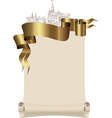 Scroll to the old city and a gold ribbon vector image vector image