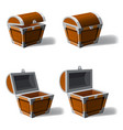 set opened and closed antique treasure chest set vector image vector image