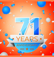 seventy one years anniversary celebration vector image vector image