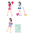 Sexy pinup style french maid at work - Set vector image