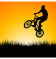 Silhouette of a biker jumping in the sunset vector image