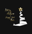 simple card with christmas tree made from paper vector image vector image