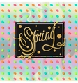 Spring background with gold text and polka dots vector image