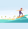 surfing tropical beach cartoon poster vector image