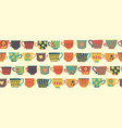 tea cups seamless pattern border beige vector image vector image