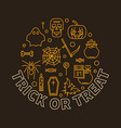 trick or treat round halloween holiday line vector image