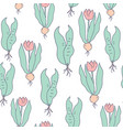 tulips and roots growing seamless pattern vector image