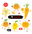 vegetable fruit cartoon cute mango orange carrot vector image