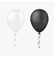 white and black balloons on a transparent vector image vector image