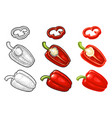 whole and slice pepper jalapeno color vector image vector image