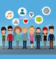 people group social network media icons vector image