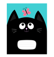 Notebook cover Composition book template Black cat vector image
