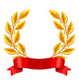 realistic gold laurel wreath with red ribbon vector image