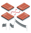 isometric start and finish checkered flags vector image