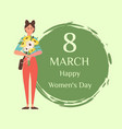 8 march womens day greetings and female blooming vector image