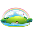 A boy swimming in the river near the hill vector image vector image