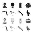 a razor a mechanical hair clipper an armchair vector image