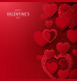 abstract red hearts glitter lights background vector image