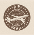 air mail stamp brown grunge ink postmark on beige