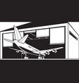 aircraft enter hangar at airport vector image vector image