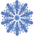 Blue ornamental round lace vector image vector image
