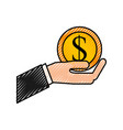 business hand holding coin dollar money cash vector image vector image