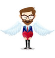 businessman angel and red heart vector image vector image
