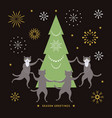 cats and christmas tree vector image vector image