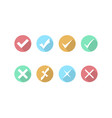 check mark and cross icons icon in flat style vector image