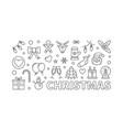 christmas horizontal line banner on white vector image
