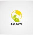 circle sun farm logo icon element and template vector image vector image