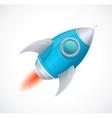 Comic cartoon rocket space ship blue vector image vector image