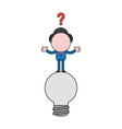 confused businessman character standing on light vector image